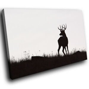 A220-Black-Deer-Silhouette-Funky-Animal-Canvas-Wall-Art-Large-Picture-Prints