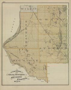 1874 Map:  Minnesota Counties of Grant, Traverse, Big Stone & Stevens