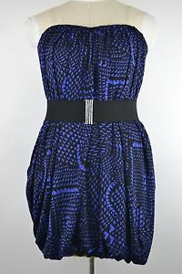 NEW-BCBG-MAXAZRIA-WOMENS-SIZE-MEDIUM-BUBBLE-DRESS-REGAL-BLUE-BLACK-MSRP-218-NWT