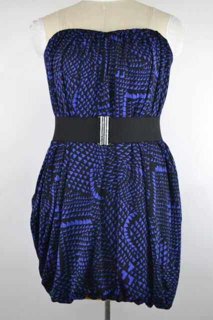 NEW BCBG MAXAZRIA WOMENS SIZE MEDIUM BUBBLE DRESS REGAL BLUE BLACK MSRP $218 NWT
