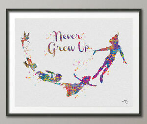 Never Grow Up Quote Art Peter Pan Watercolor Painting Print Wedding
