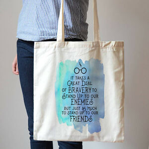 Details about Harry Potter Friendship Bravery Quotes Hogwarts House Cotton  Canvas Tote Bag 249