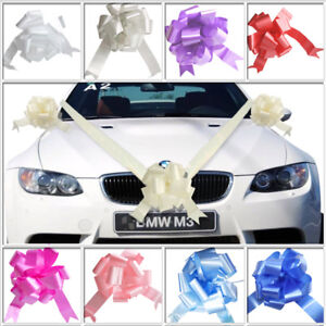 Wedding-Car-Decoration-Kit-7m-of-Poly-Ribbon-amp-3-x-Large-Pull-Bows-9-Colours