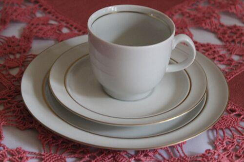Sammeltasse weiß mit Goldrand DDR Thüringer Porzellan Gedeck Tasse Teller