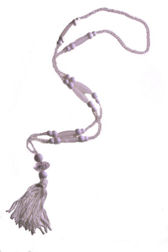 ZX237 Sublime /& exquisite white// clear beads /& tassel pendant long necklace