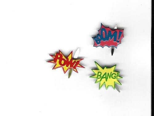 SUPER HERO  BRADS ** FREE SHIPPING OFFER ** 8 PCS EYELET OUTLET** 3 STYLES