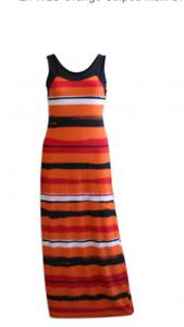 Nuevo Maxi Vestido de rayas Wallis Jersey Negro//Naranja tire en el 10 12 16