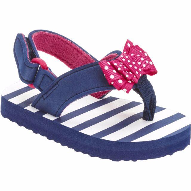 Girls Toddler Beach Flip Flop W Ankle Strap Size 5 Blue Stripes Pink Bow