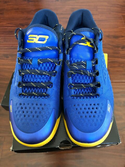 new concept 7838e 609ba Under Armour Curry 1 Low Blue Yellow Warriors Size 8.5 Men 1269048-400