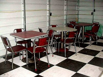 Vintage Deco 3 Sets Cream Red Chrome Diner Soda Shop Pedestal Table 12  Chairs