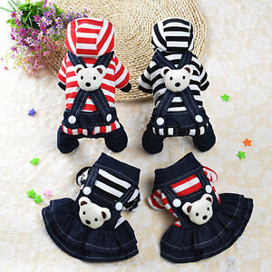 Small-Cat-Puppy-Dress-Party-Clothes-Pet-Skirt-Costume-Stripe-Dog-Coat-Hoodie