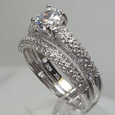 NEW JTV BellaLuce4.78ctwRhodiumoverSterlingSilver Wedding Ring Set SZ 10