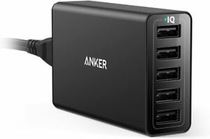Anker PowerPort 5-Port USB Wall Charger 40W for iPhone X 8-Certified Refurbished