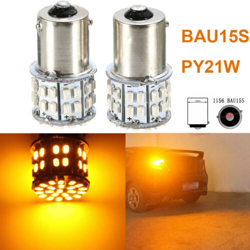 2PCS Amber 12V 50W 50 SMD LED 1156 BAU15S PY21W Car Turn Tail Lights Bulbs UK
