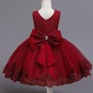 Flower Girl Dress Red Lace Princess Bow