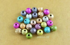 Mixed-Stardust-Acrylic-Round-Ball-Spacer-Beads-Charms-150Pcs-6mm
