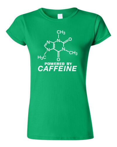 Powered By Caffeine T-Shirt funny coffee Molecule 13 colours Men/'s Women/'s sizes