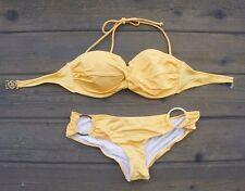 Victorias Secret Bikini Swim Top Twist Bandeau Bottoms Rio Knockout S Yellow 34C