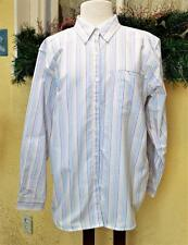 Cabin Creek 14 Button Front Shirt White/Multi Stripes Pocket Wrinkle/Stain Free
