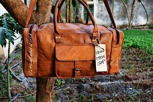 30-034-Mens-Brown-Vintage-Genuine-Travel-Luggage-Duffle-Gym-Bags-Tote-Goat-Leather