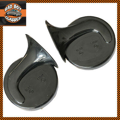 Pair 12v Twin Polished Chrome Snail Horns High Low Tone