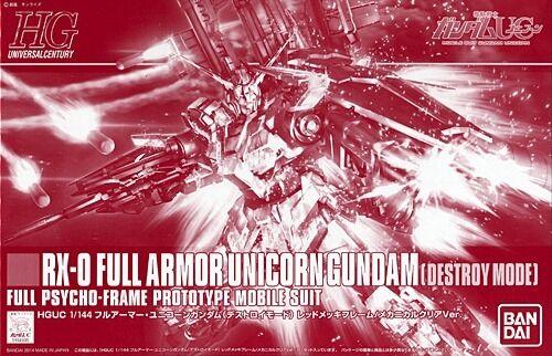 BANDAI HGUC 1 144 FULL ARMOR UNICORN GUNDAM RED FRAME MECHANICAL CLEAR Model Kit