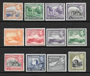 1938-King-George-VI-SG151-to-SG160-Set-of-12-Stamps-Mint-Hinged-CYPRUS