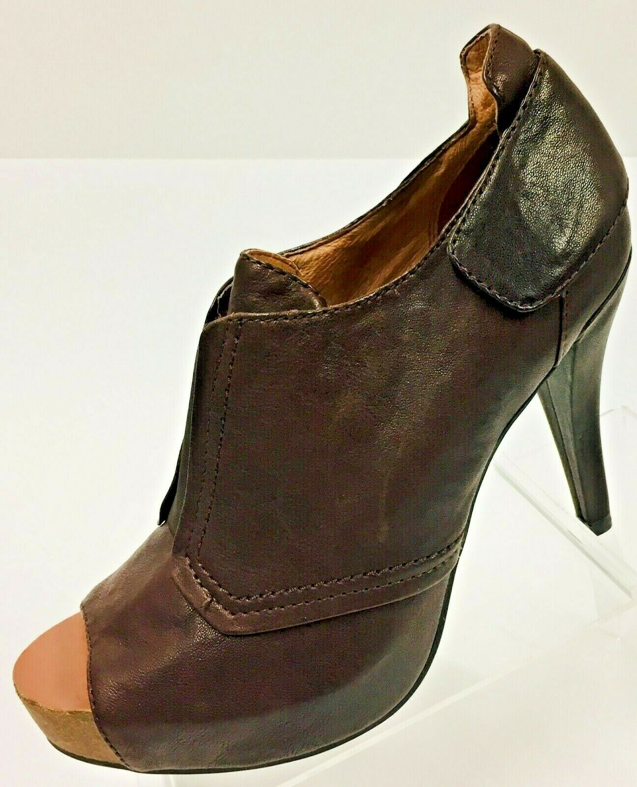 Vince Camuto Womens Brown Size 10 Pernot Leather  Peep Toe Bootie Platform Heels