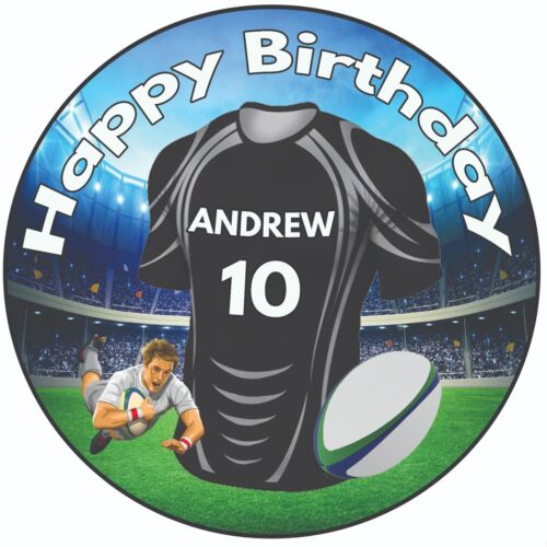 """Personalised Birthday Cake Topper 8/"""" Icing Rugby Shirt Newcastle Falcons Colours"""