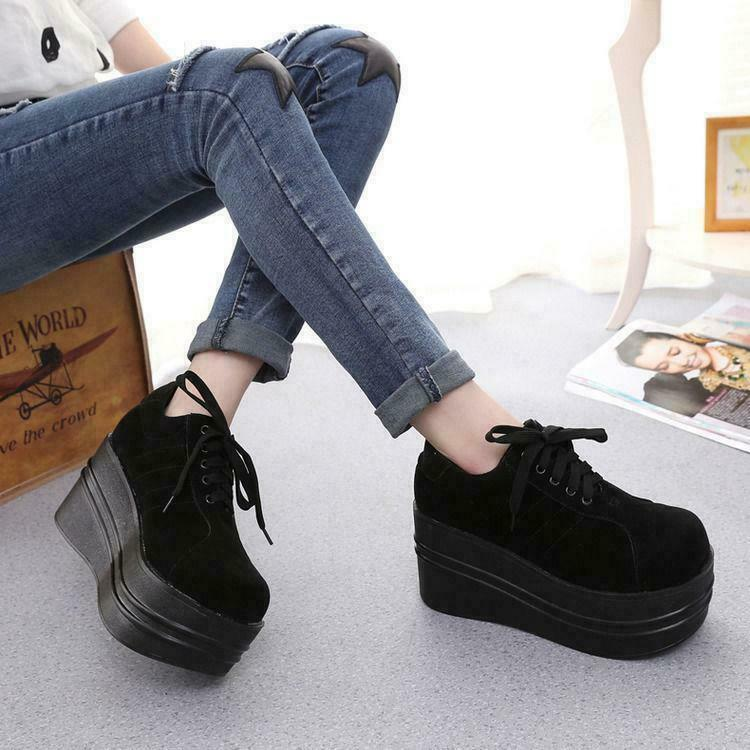 Women's Women's Women's Lace Up Gothic Punk Round Toe Platform Creeper shoes Wedges Pumps Spring 1de806