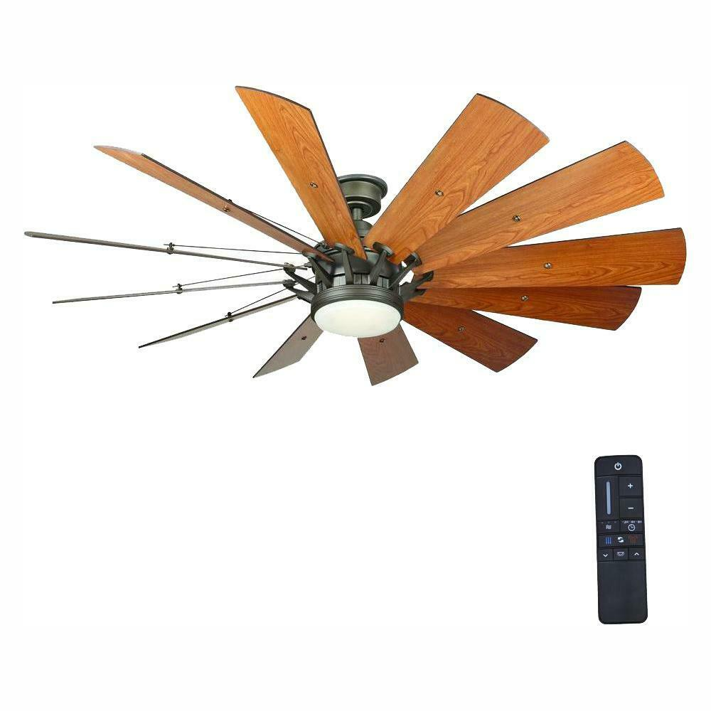 Rustic Ceiling Fan 60 Inch Led Light Remote Control Farmhouse Windmill Nickel For Sale Online Ebay