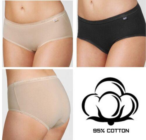 Briefs Sloggi Basic Midi Hipster 95/%Cotton Beige Black M//40  4XL//50