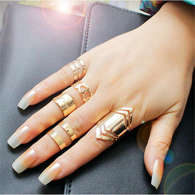 5Pcs/set Hollow-out Opening Rings Creative Design Ring Set Jewelry Accessories
