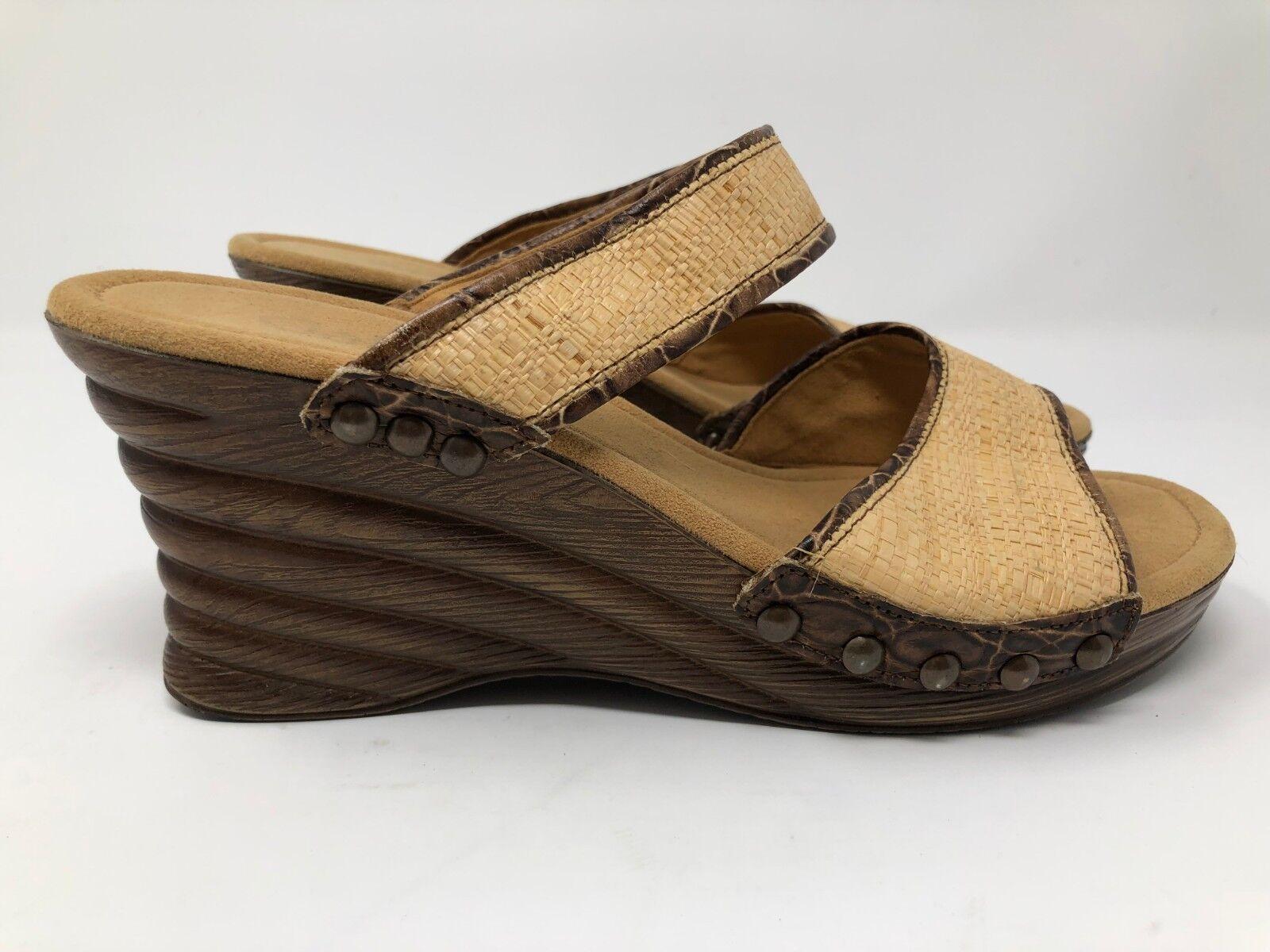 Gabor wedge sandals wood heel womens sz 5.5 ZZ180