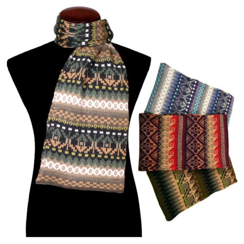 Assorted Thick Super Warm Breathable Alpaca Scarf Knit Geometric 3Pack Wholesale