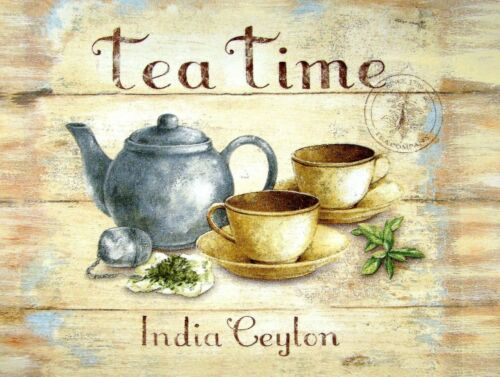 Tea Time retro vintage style metal sign//plaque man cave shed Cafe