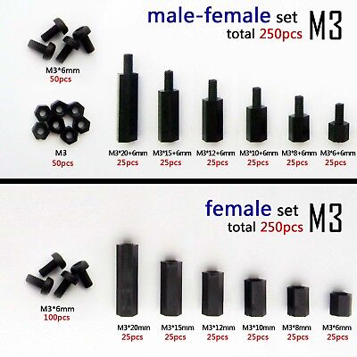 300X Black Plastic Nylon M3 Hex Column Standoff Spacer Screw Nut Assortments PCB