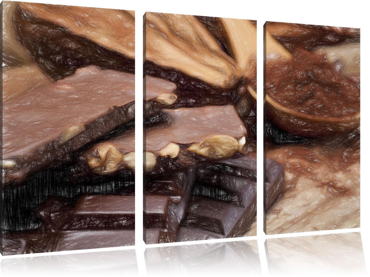 Delicioso Coloridas Chocolate Plumas Coloridas Delicioso Efecto 3-Teiler Foto en Lienzo 97d899