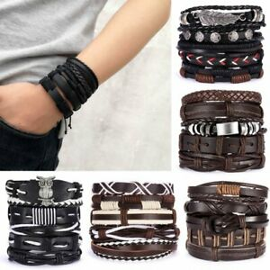 5-6pcs-Fashion-Homme-Punk-Cuir-Wrap-tresse-bracelet-Cuff-Bangle-Bracelet-NEUF