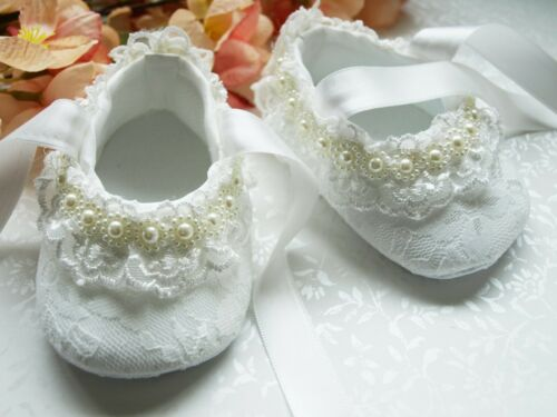 Baby Girls Ivory Lace Pearl Christening Wedding Shoes Pram Shoes 0-12 mths