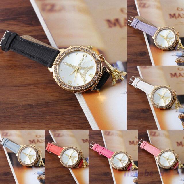 Womens Luxury Rhinestone Diamond Watch Faux Leather Eiffel Tower Quartz Watch