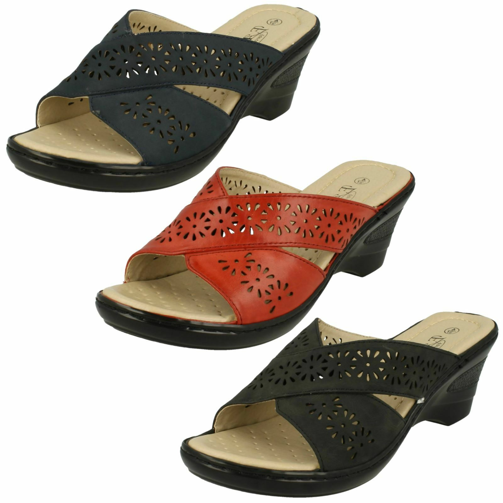 Gentlemen/Ladies Eaze Mules Ladies Casual Mid Wedge Mules Eaze Excellent value special promotion Immediate delivery 0d6d62