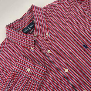 Mens-Polo-Ralph-Lauren-Custom-Fit-Red-Striped-Oxford-Golf-Dress-Shirt-Size-Large