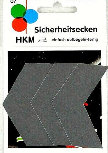 Reflektierende Applikation zum Aufbügeln 3 Sicherheitsecken HKM 07
