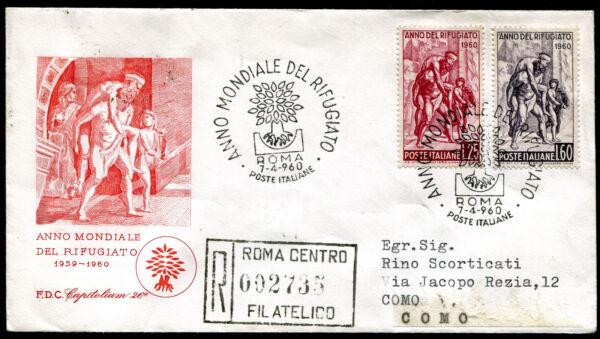 1960 - Anno Del Rifugiato - Sassone N. 880/881 - Busta F.d.c. Parfait Dans L'ExéCution