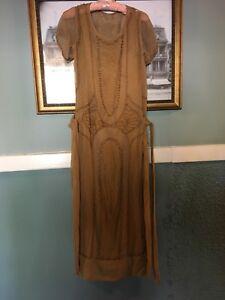 Antique-Flapper-Gatsby-Tan-Dress-Elaborate-Beaded-Art-Deco-Rare-Larger-Size