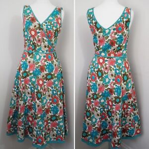 Boden-Floral-Fit-And-Flare-Dress-Size-8-Regular-Cotton-Knee-Length-Holiday