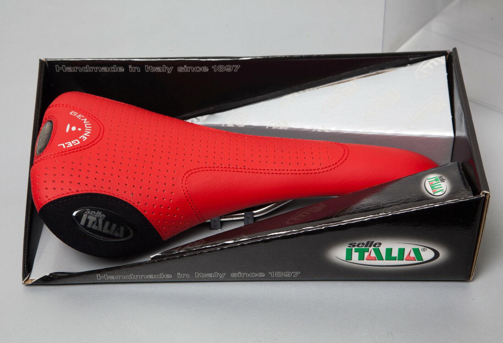 NIB NOS Vintage SELLE ITALIA FLITE Genuine Gel Titanium leather saddle rojo 2003