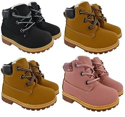 Infants Girls Kids Boys New Faux Fur Lined Boots  Ankle Lace Up Winter Shoes