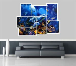 Huge-Collage-View-Fantasy-Dolphins-Under-Sea-Wall-Stickers-Decal-519